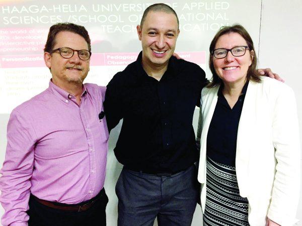 Dr. Elias Goulart e Prof. Luiz Cruz com a Dra. Annica Isacsson