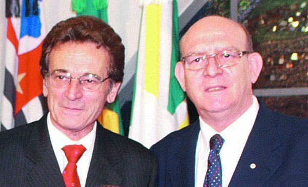 O saudoso Darci Rossi com o seu grande amigo Comendador Antonio Julio Pedroso de Moraes