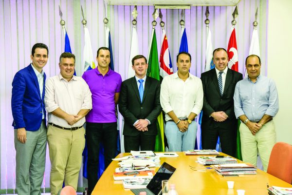 Paulo Serra, Gabriel Maranhão, vice-presidente Lauro Michels, presidente Orlando Morando, Atila Jacomussi, Adler Teixeira (Kiko) e José Auricchio Júnior durante reunião do Consórcio